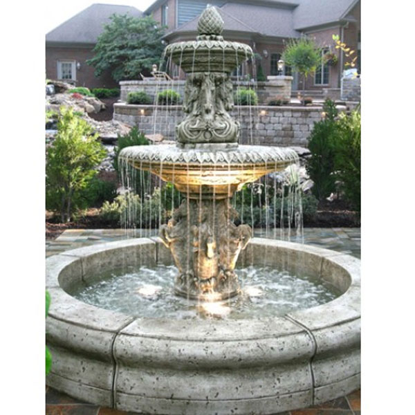 Outdoor cavalli fountain with fiore pond for Pond with fountain