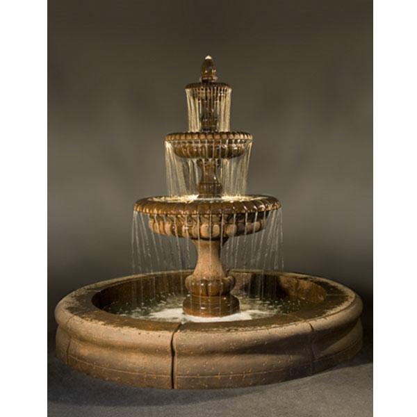 Pioggia Fountain With Fiore Basin Water Feature Pros