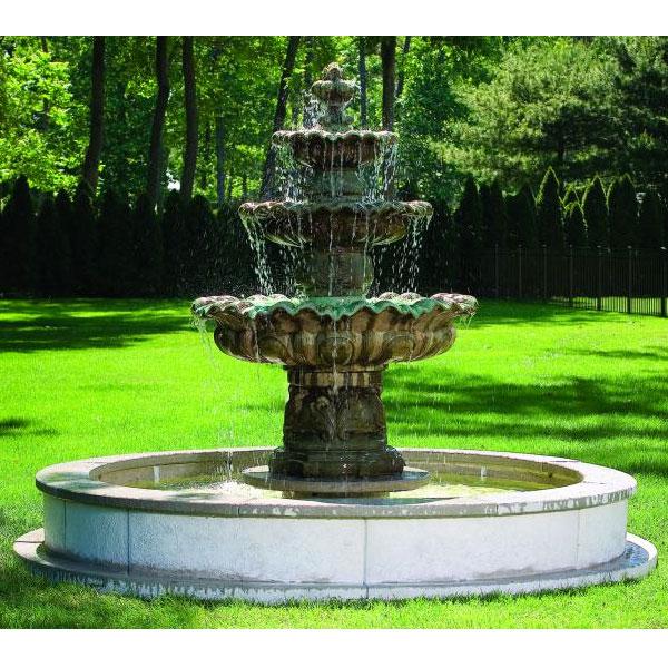 Massarelli Three Tier Scallop Fountain W 12 Pool 3646