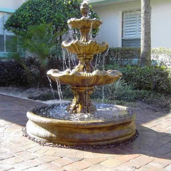 Outdoor Italian Three Tier Fountain With Basin Water Feature Pros