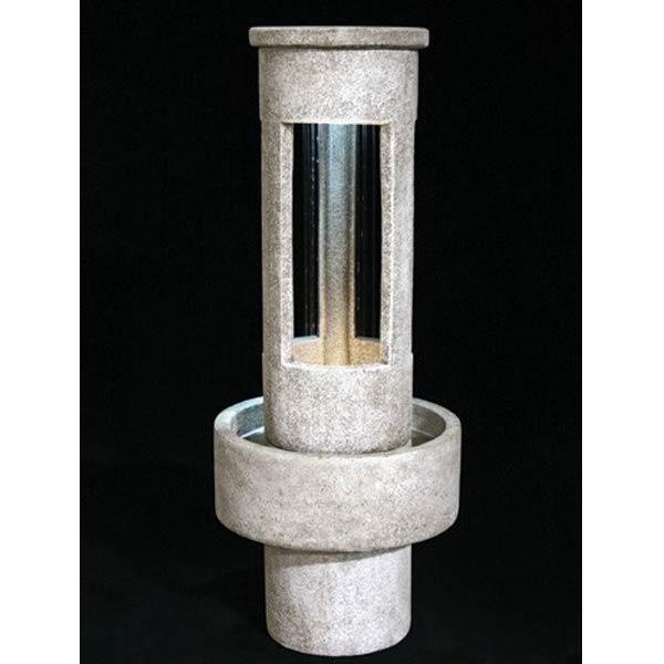 Outdoor Tall Stone Cylinder Rain Fountain