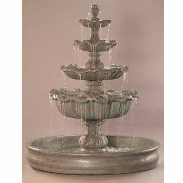 Outdoor Italian Four Tier Fountain With Basin Water Feature Pros
