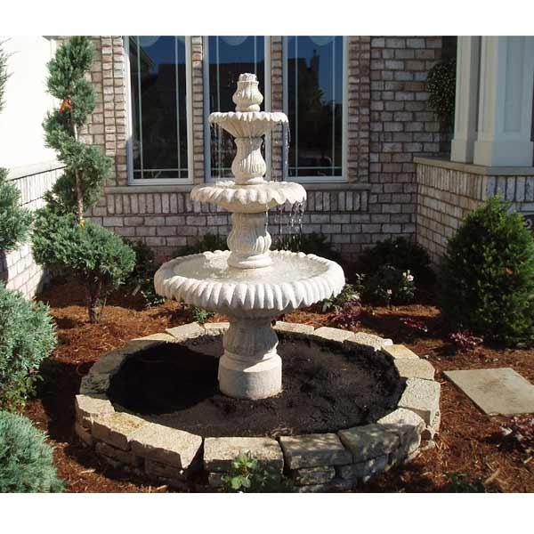 Outdoor 3 Tier Pedestal Fountain In Cristiana Allegra Granite