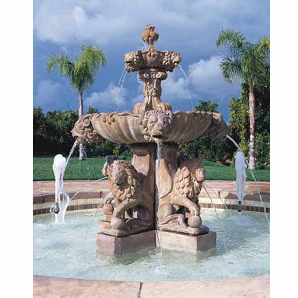 outdoor plumbed large lion fountain. Black Bedroom Furniture Sets. Home Design Ideas