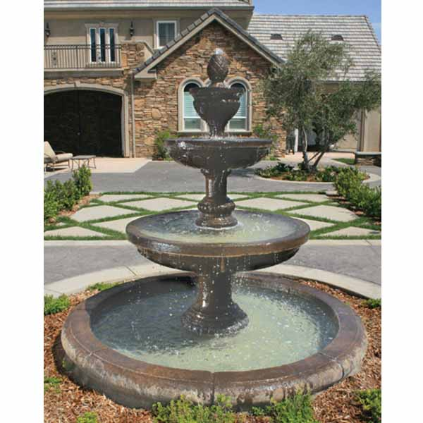 Mediterranean Exterior Of Home With Pathway Fountain: Outdoor Mediterranean Fountain With Old European Basin