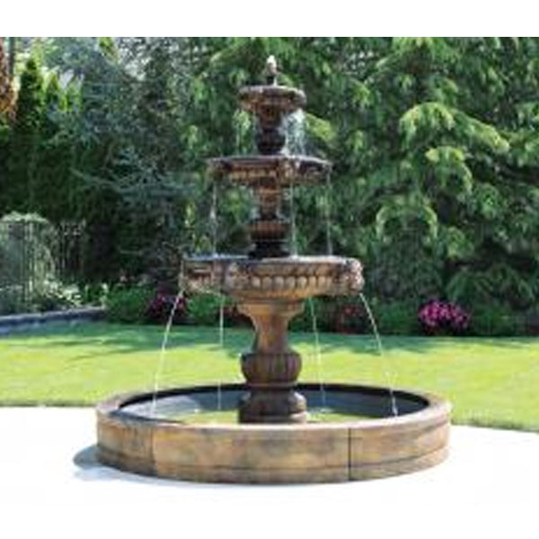 Outdoor three tier grandessa fountain with pool for Garden pool fountains