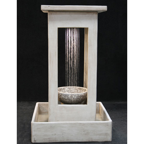 Outdoor Smooth Center Rain Fountain With Square Basin