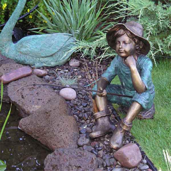 Stsatuette For Outdoor Ponds: Fish Wish Fisherboy Cast Bronze Garden Statue