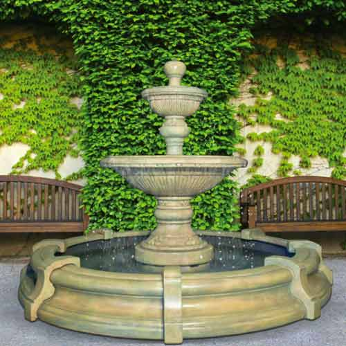 Outdoor large formal garden fountain with basin for Large outdoor fountains