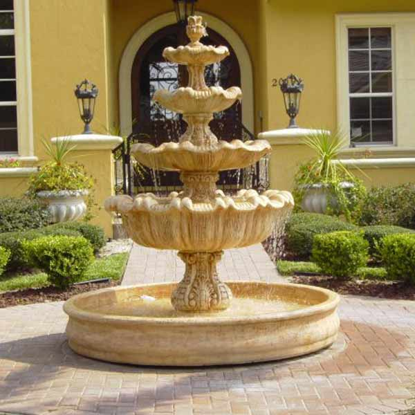 Outdoor Italian Four Tier Fountain With Basin