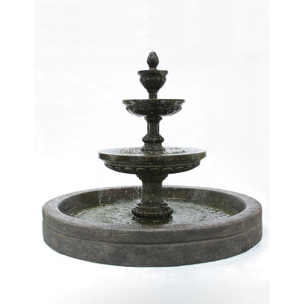 "Mediterranean Exterior Of Home With Pathway Fountain: Outdoor Mediterranean Fountain With 98"" Basin"
