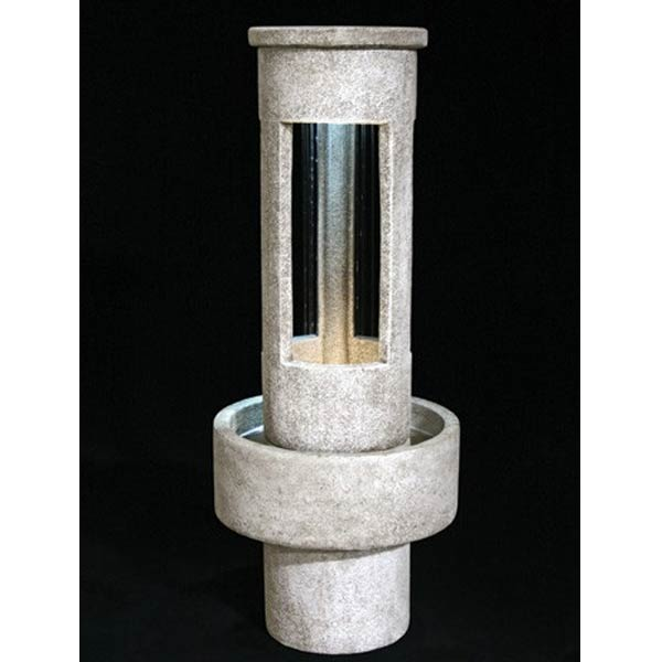 Outdoor Tall Stone Cylinder Rain Fountain