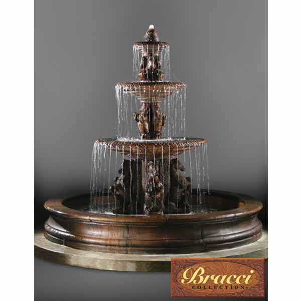 Superieur Outdoor 3 Tier Cavalli Fountain With Bracci Basin