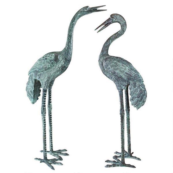 Stsatuette For Outdoor Ponds: Large Bronze Cranes