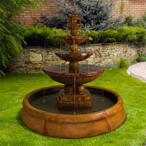 Outdoor Crested Fountain Basin System